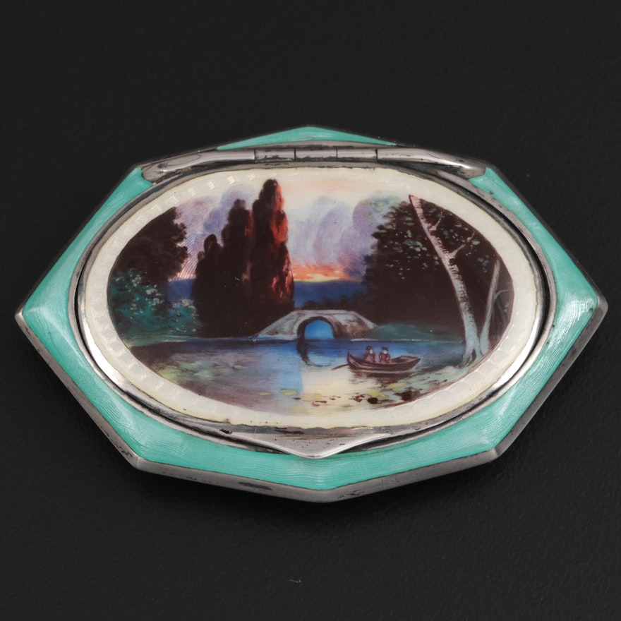 Hand-Painted and Guilloché Enamel Sterling Silver Compact