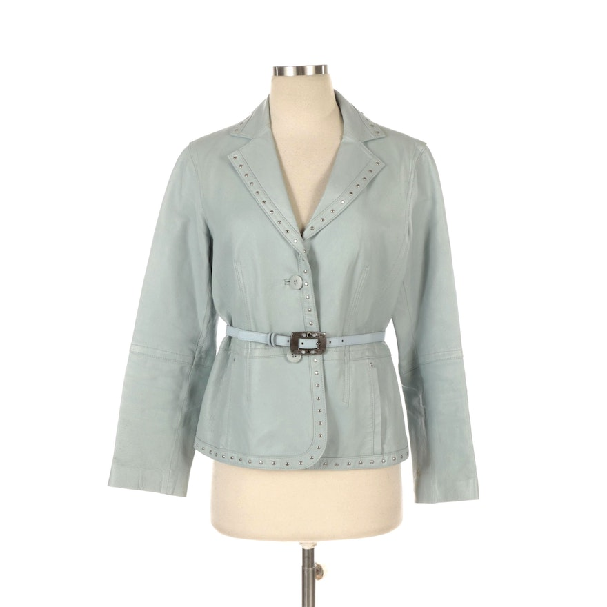 Monterey Bay & Elite Accessories Studded Jacket with Belt in Blue Leather