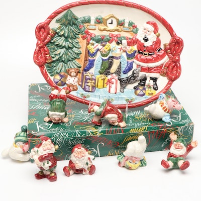 """Fitz and Floyd """"Toyland Santa Oval Platter"""" and """"Old World Christmas Elves"""""""