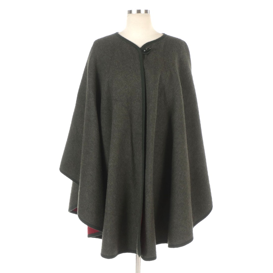 Double-Faced Wool Blend Cape Poncho with Toggle Closure