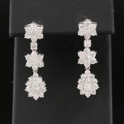 14K 2.67 CTW Diamond Drop Earrings