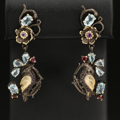 Sterling Bird and Floral Earrings