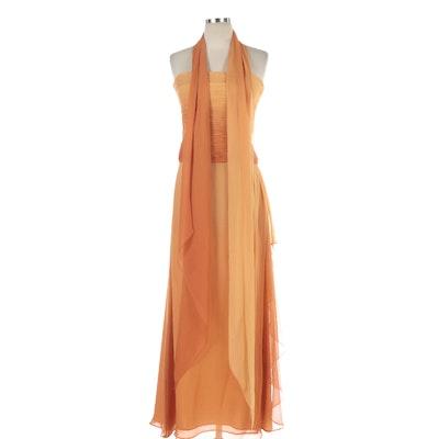 Crisada Chris Kole Strapless Dress in Orange Ombré with Shoulder Wrap