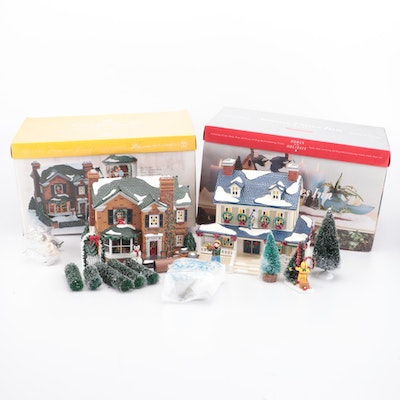 """Department 56 """"2000 Holly Lane"""" and """"Snowy Pines Inn"""" Christmas Village Sets"""