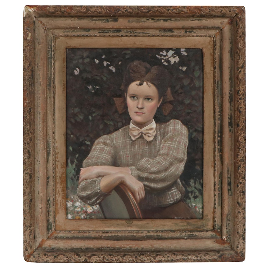 Edmond Fitzgerald Portrait Oil Painting of a Seated Woman
