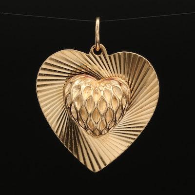 1960s 14K Puff Heart Pendant
