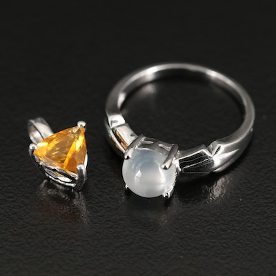 Sterling Silver Moonstone Ring with Opal Pendant