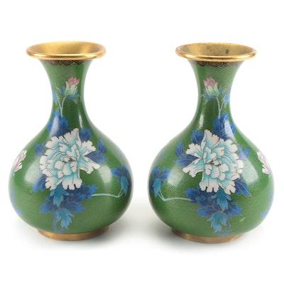 Chinese Cloissoné Enamel Bud Vases