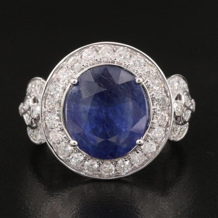 14K Sapphire and 1.31 CTW Diamond Halo Ring