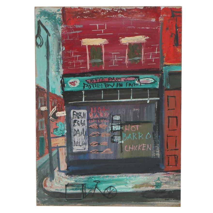 Esther Phillips Acrylic and Gouache Painting of Storefront