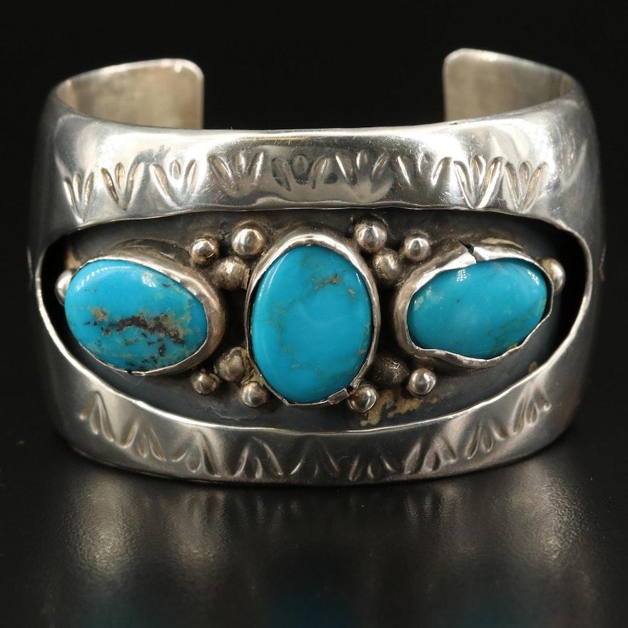 Dennis John Navajo Diné Turquoise Shadow Box Cuff