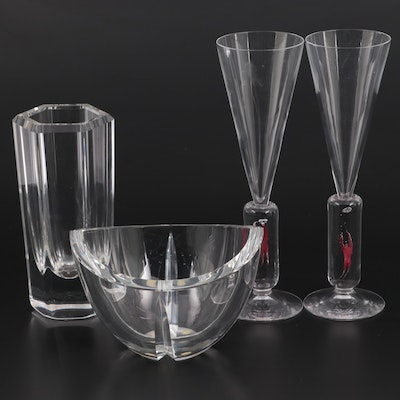 """Kosta Boda """"Colonna"""" Vase with Bowl and """"Millenium"""" Champagne Flutes"""
