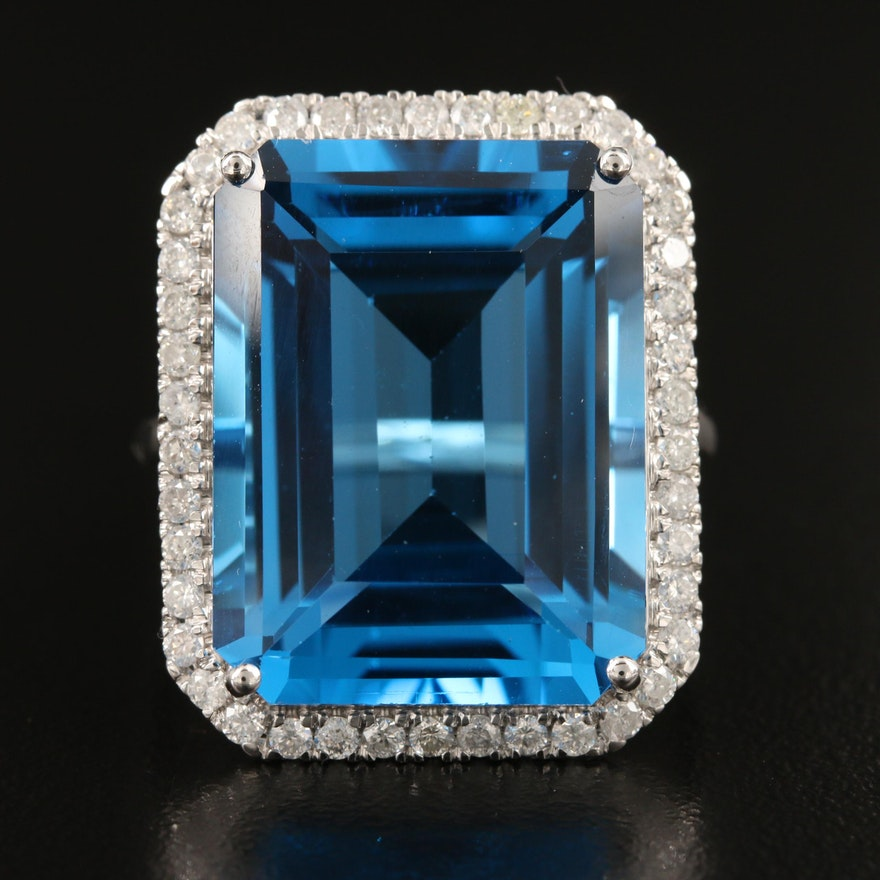 14K 27.08 CT Swiss Blue Topaz Ring with Diamond Halo