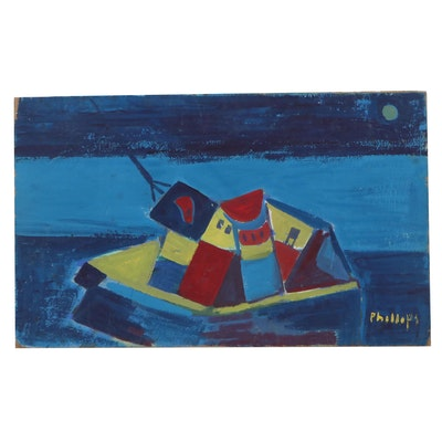 "Esther Phillips Gouache Painting ""Ships Graveyard"""