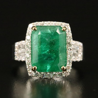 14K 6.01 CT Emerald and Diamond Halo Ring