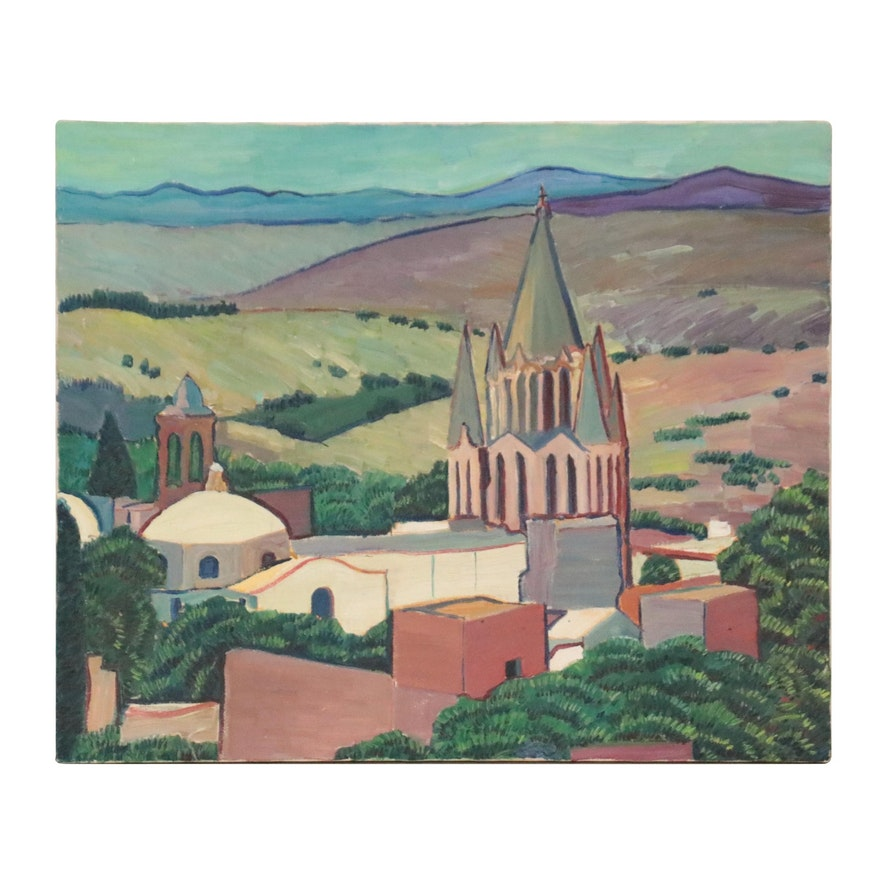 Landscape Oil Painting with Cathedral, Mid-20th Century