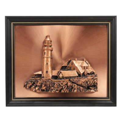 Composite Lighthouse Bas-Relief Sculpture