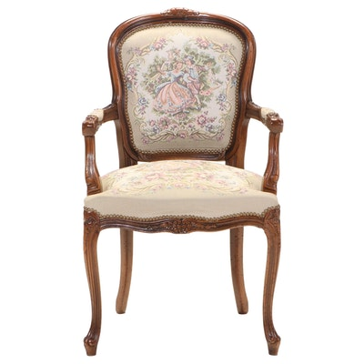 Louis XV Style Beech Fauteuil, Late 20th Century