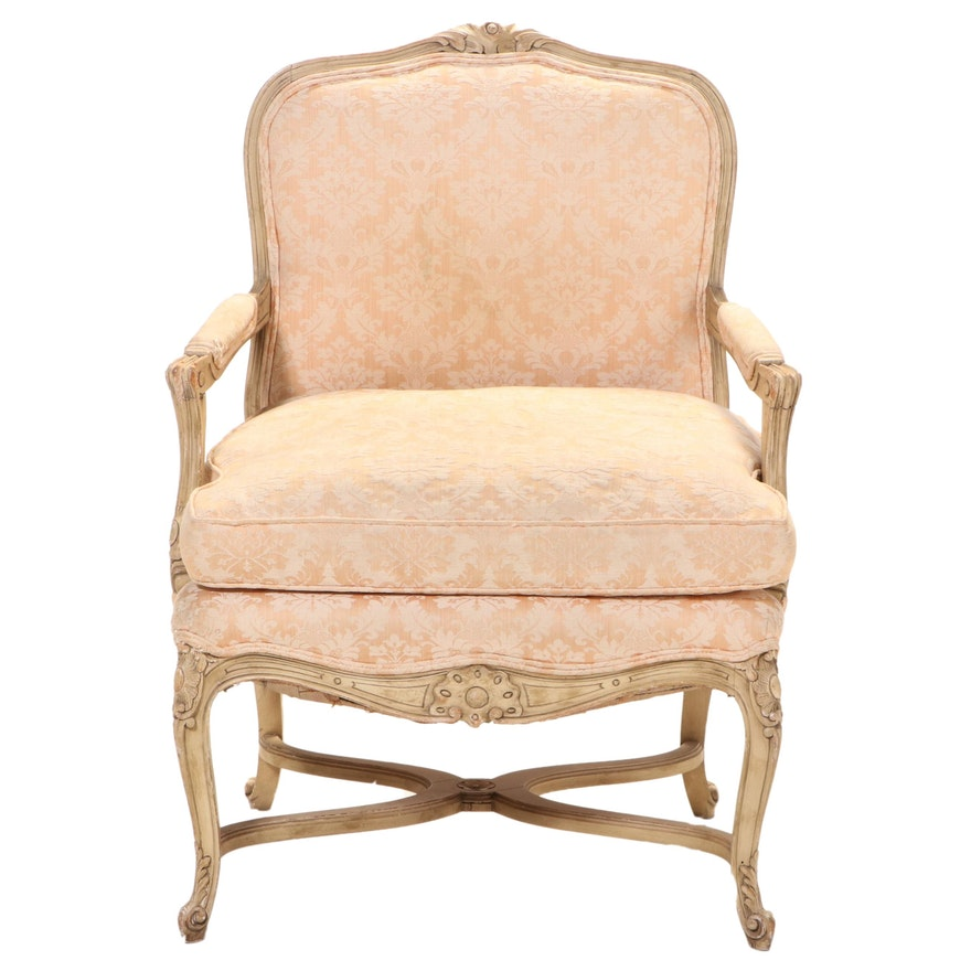 Louis XV Style Cream-Painted Beech Fauteuil, 20th Century