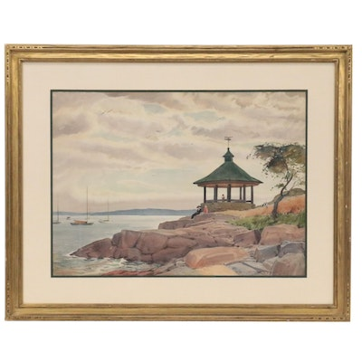 Edmond Fitzgerald Watercolor Painting of Manor Park, New York, 1949