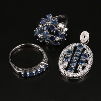 Sterling Silver Sapphire and Zircon Rings and Pendant Featuring Floral Ring