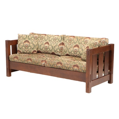 Stickley Arts and Crafts Style Quartersawn Oak Sofa, dated 2007