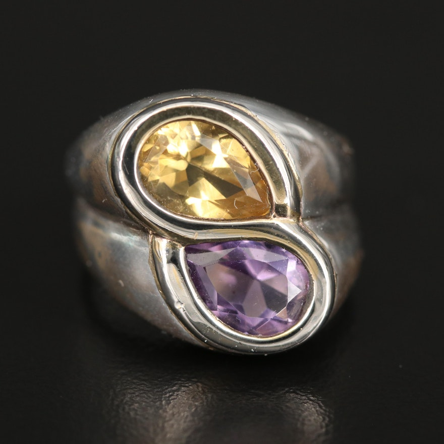 Sterling Amethyst and Citrine Ring