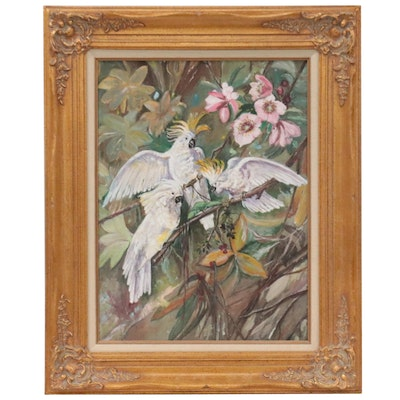 Oil Painting of Cockatoos, Late 20th Century