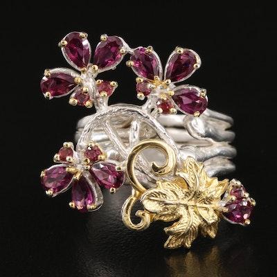Sterling Silver Garnet Floral Ring