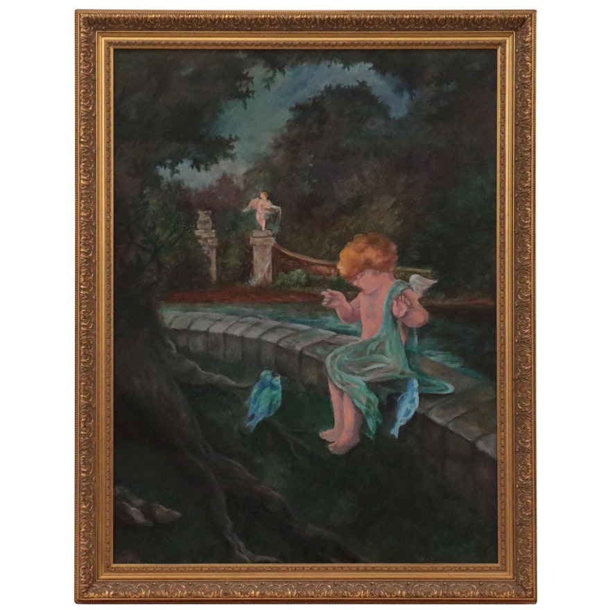 Allegorical Oil Painting of Cupid and Bluebirds, Circa 2000