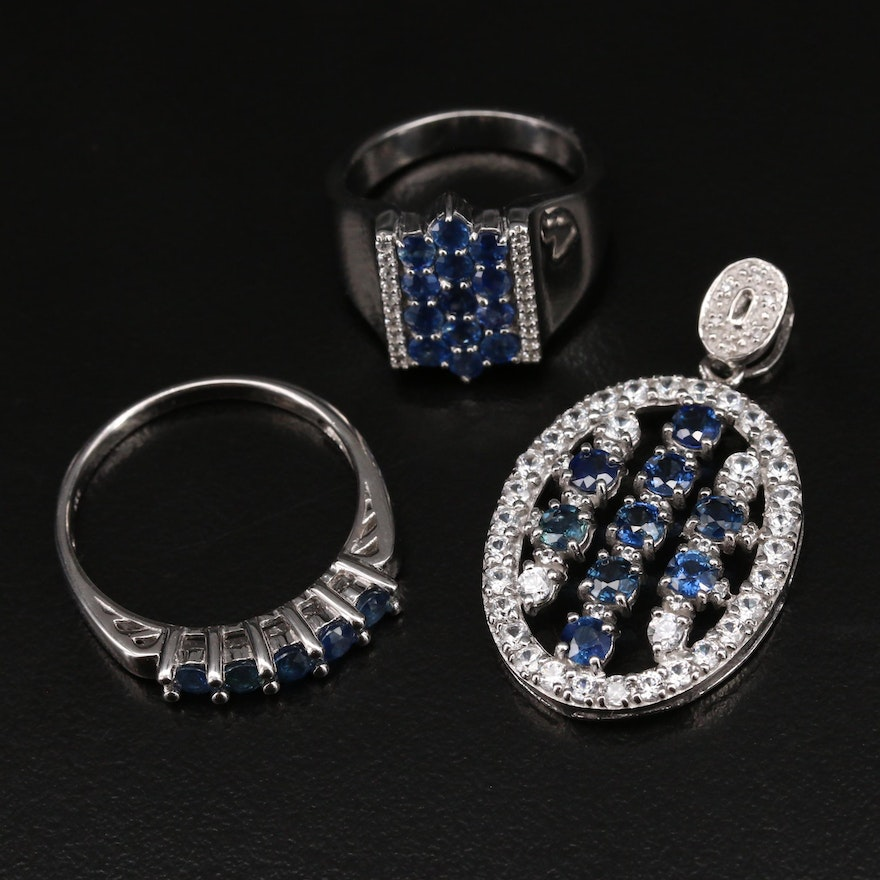Sterling Silver Sapphire and Zircon Rings and Pendant