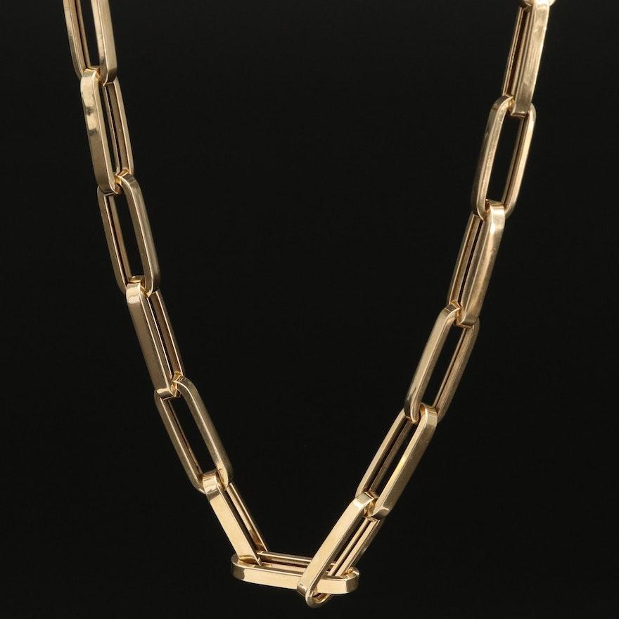 14K Rectangle Link Necklace