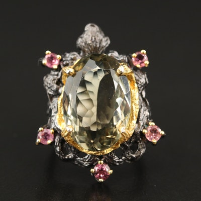 Sterling Silver Prasiolite and Tourmaline Ring with Organic Frame