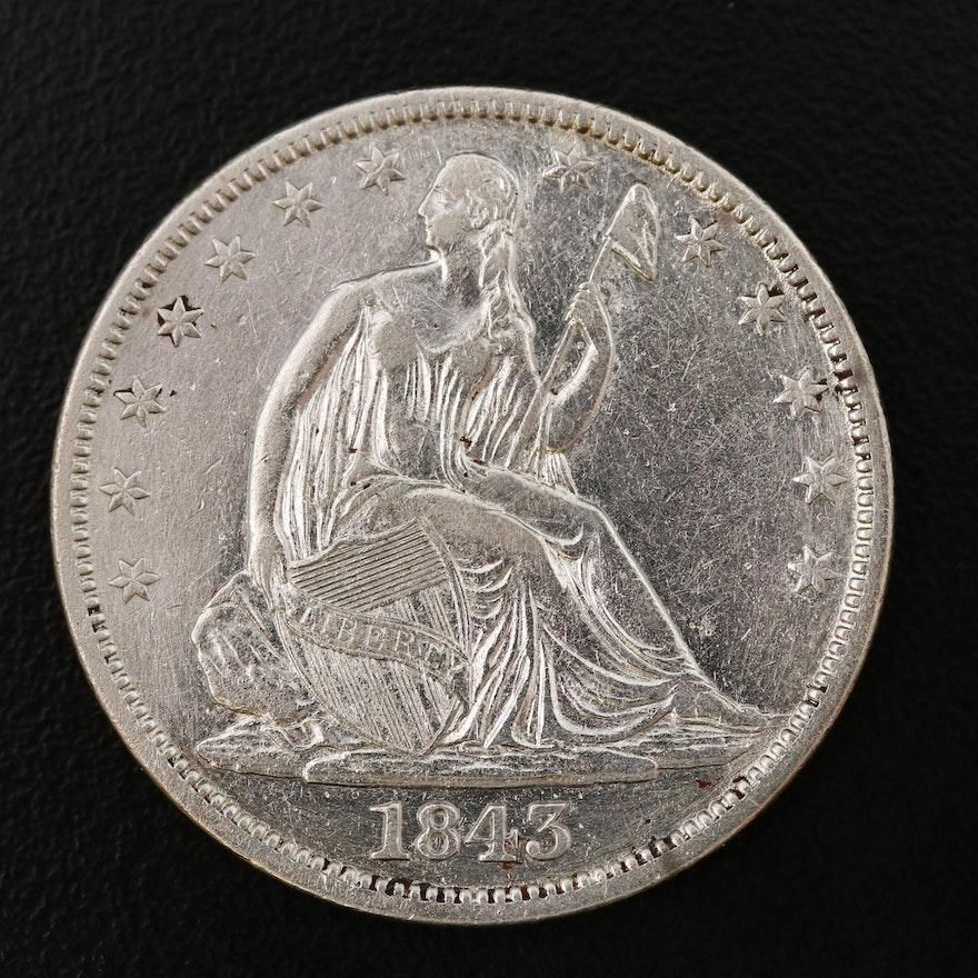 "1843 Seated Liberty ""No Motto"" Silver Half Dollar"