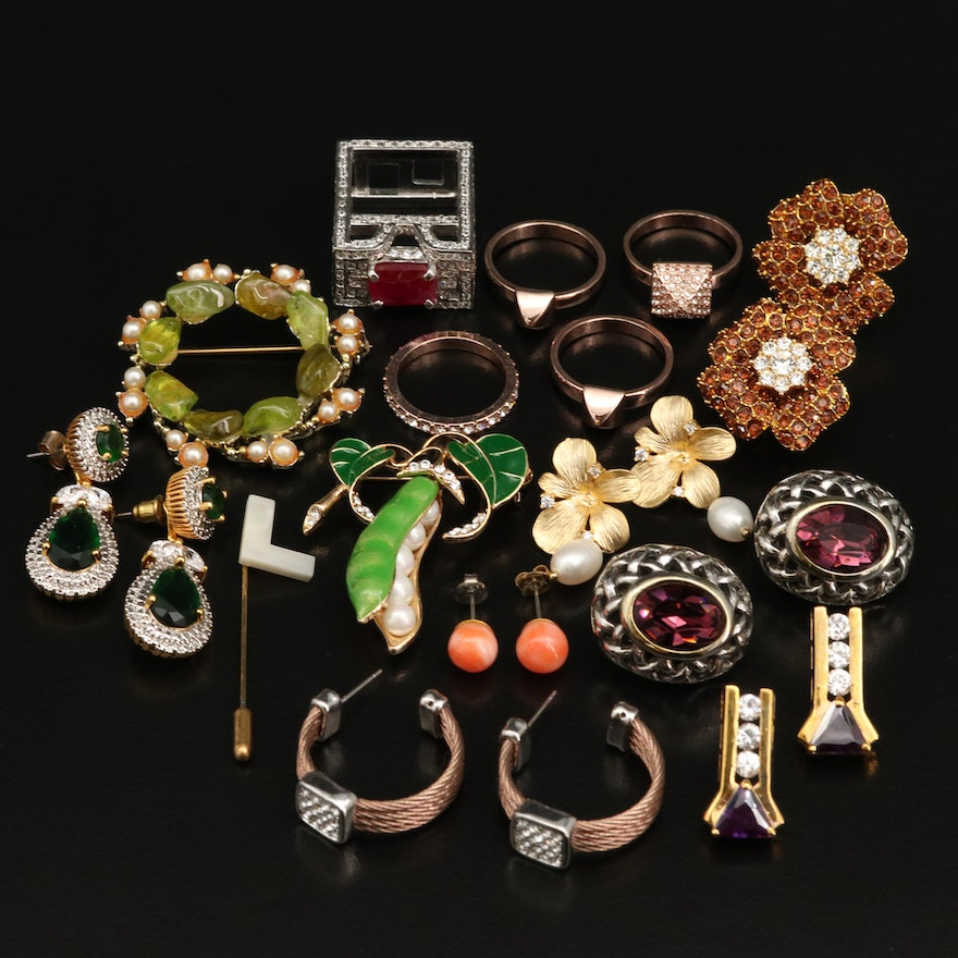 Jewelry Featuring Coral, Cultured Pearl, Imitation Pearl and Sterling