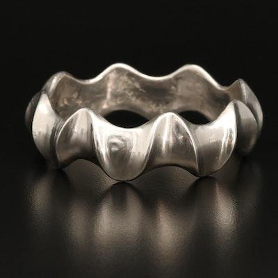 Sterling Silver Undulating Bangle