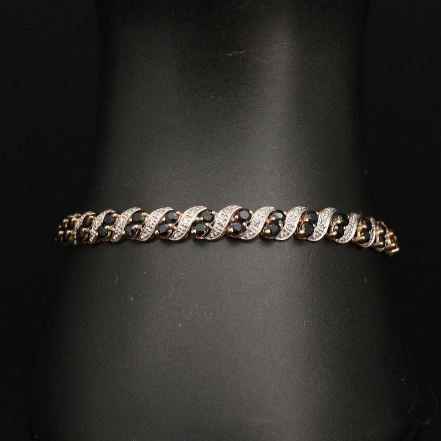 "10K Diamond and Sapphire ""S"" Link Bracelet"