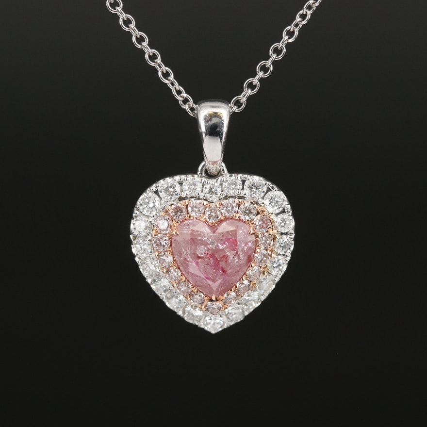 18K 2.14 CTW Diamond Heart Pendant on 14K Chain Necklace with GIA Report