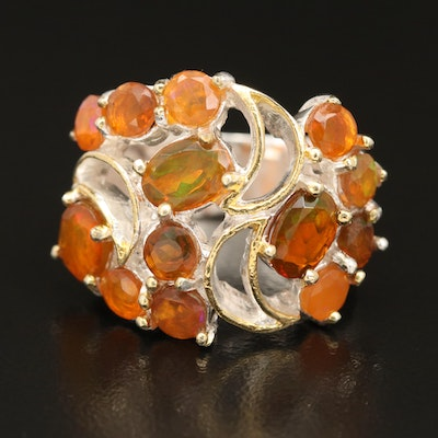 Sterling Silver Fire Opal Cluster Ring
