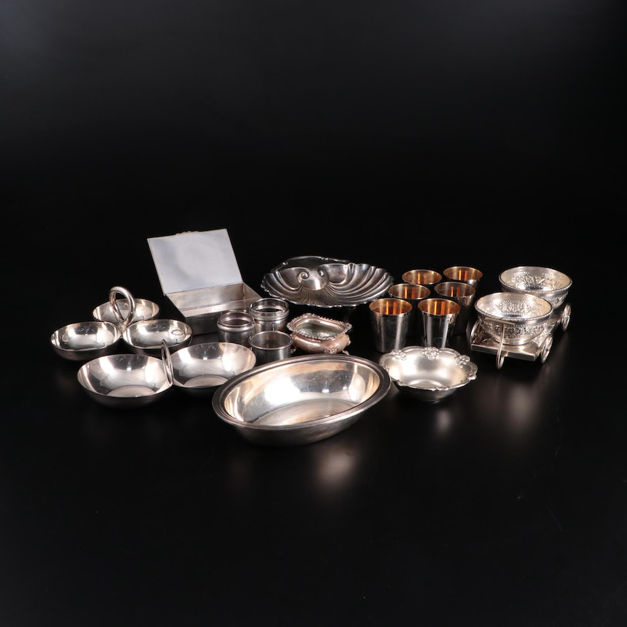 Gorham Sterling Silver Napkin Rings with Crescent and Other Plate Tableware