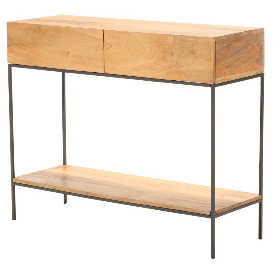 """West Elm """"Rustic Storage Collection"""" Mango Wood and Steel Console Table"""