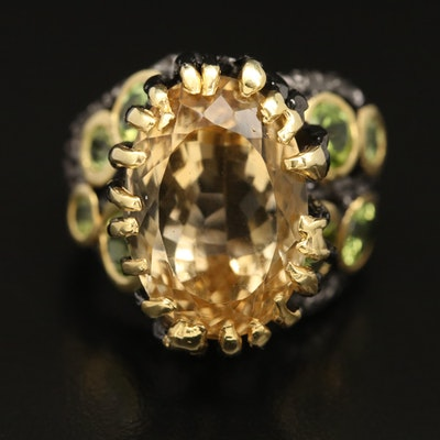 Sterling Silver Citrine and Peridot Biomorphic Style Ring