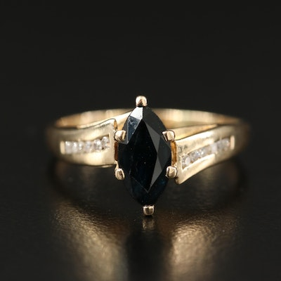 10K Sapphire Cathedral Ring with Channel Set Diamond Shoulders