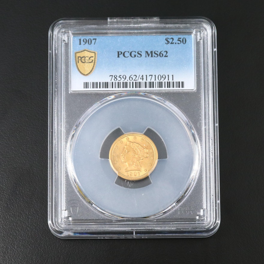 PCGS Graded MS62 1907 Liberty Head $2.50 Gold Quarter Eagle