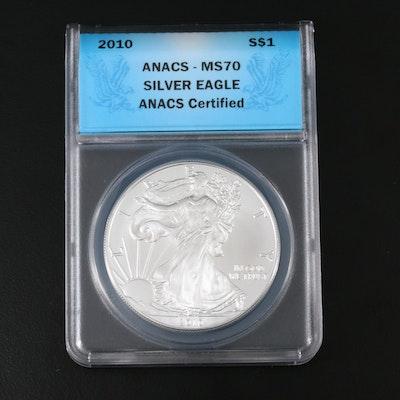 ANACS Graded MS70 2010 American Silver Eagle