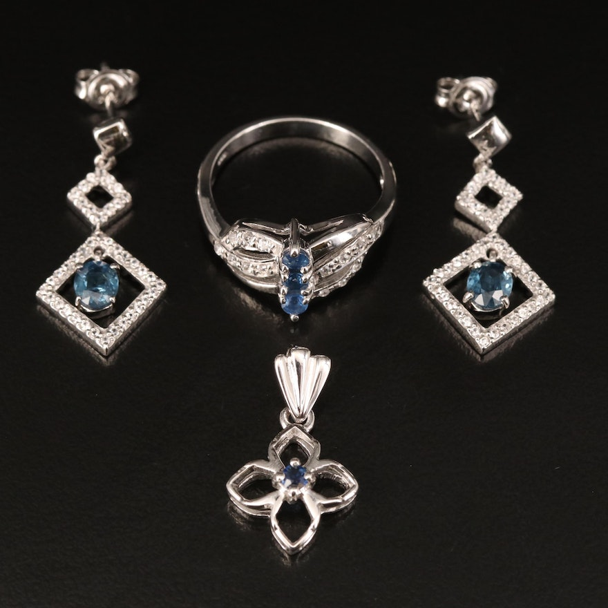 Sterling Pendant, Earrings and Ring Including Sapphire and Zircon