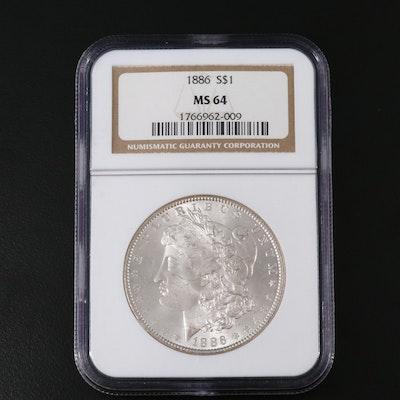 NGC Graded MS64 1886 Morgan Silver Dollar