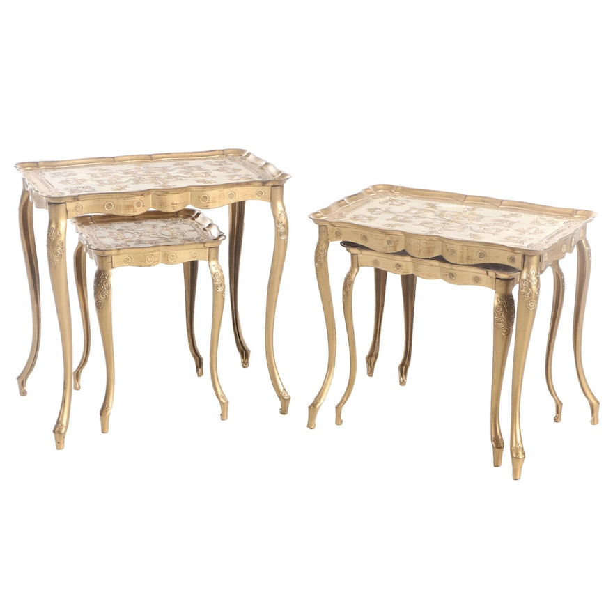 Florentine Style Gold and Cream-Painted Plastic Nesting Tables
