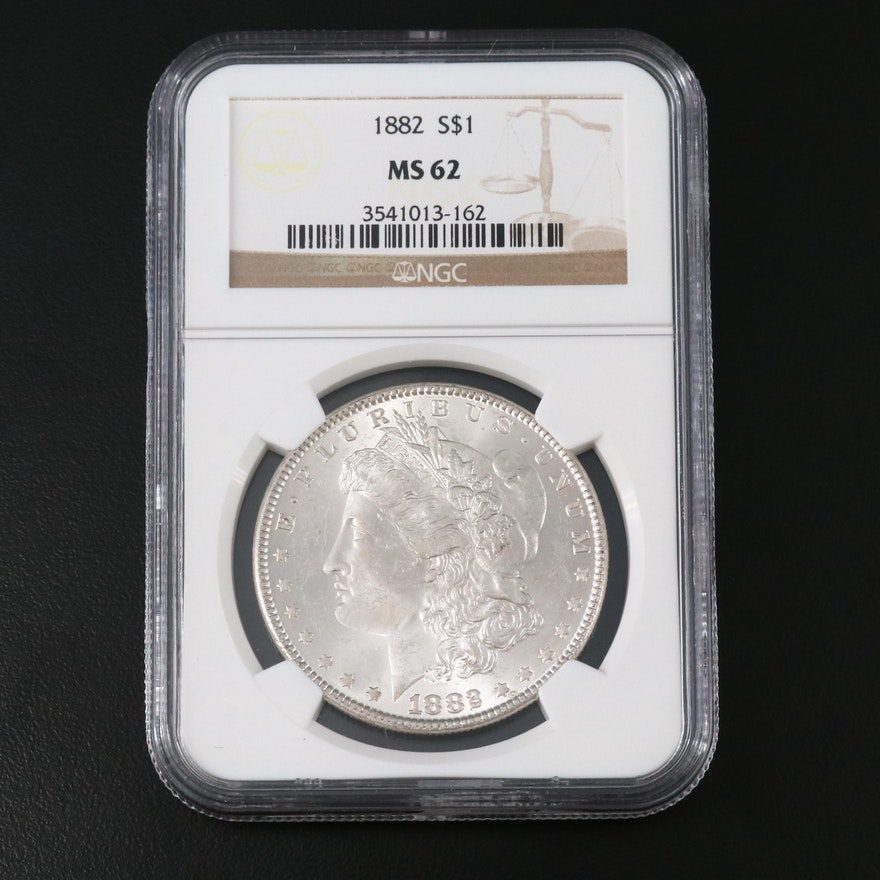 NGC Graded MS62 1882 Morgan Silver Dollar