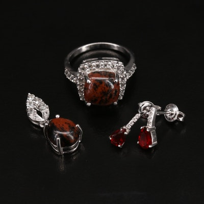 Sterling Silver Mahogany Obsidian Ring, Pendant and Earrings Set